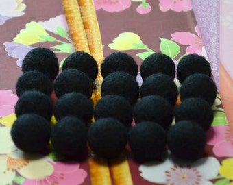 20pcs Black Wool Felt Balls (1cm, 1.5cm, or 2cm)