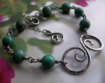 Sterling Silver Bracelet, Wire Wrapped Bracelet, Green Bracelet, Hammered Silver Bracelet, Amazonite Gemstone Bracelet