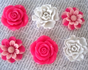 Large Magnets, 6 pc Pink and White Flower Magnets, Rose and Peony, Fridge Magnet, Housewarming Gifts, Wedding Favors, Locker Magnets