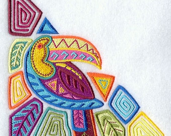 Tropical Toucan Mola Style Triangle Embroidered Flour Sack Hand/Dish Towel