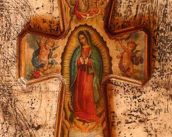 Crafted Wood Cross 'Guadalupe Queen of Heaven'