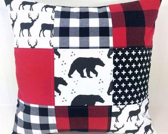Woodland Pillow Cover, Cushion Cover, Nursery Decor, Throw Pillows, Pillow, Lumberjack, 18 x 18, Black Red White, Deer, Bear, Buffalo Plaid