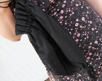 Edwardian black drawstring bag/ Edwardian casual bag/ vintage bag