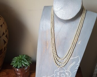 Vintage Multistrand Faux Pearl Necklace, Cream Pearls, 1980s