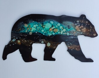 Metal Hand painted Bear