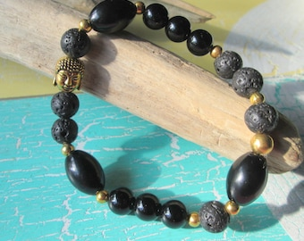 Buddha bracelet with beads of lava and stone*Hippie Style