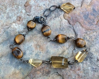 TIGER's EYE bracelet, Tiger eye jewelry, brown gemstone bracelet, raw gemstone boho jewelry, handmade artisan jewelry, AngryHairJewelry