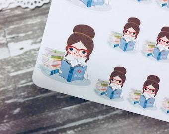 Reading Book Sticker   Studying Sticker   Student Sticker   Planner Girl Sticker   0020