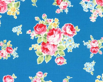 Flower Sugar Spring 2014 Roses on Blue Cotton Fabric  by Lecien 30968-70