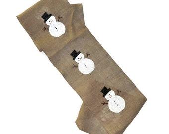 Snowman Burlap Table Runner - Christmas Burlap Table Runner - Winter Table Runner - Snowman Table Runner - Holiday Table Decor
