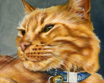 Custom Pet Portrait - painting, cat painting, cat art, cat lover gift