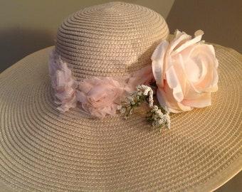 Oversize Kentucky Derby hat church hat beige pink floral wide brim sun hat