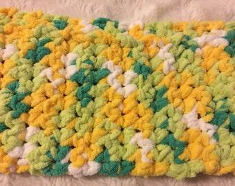 Plushy lemon lime winter scarf - yellow, green, white  - kids scarf