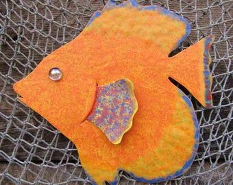 Art Sculpture Tropical Fish Metal Wall Decor Yellow Orange Fish Wall Sculpture Marine Art Beach House Coastal Bathroom Decor Sun Fish 7 x 9