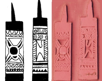 Set of 2 Gypsy Design Stamps - Textile - Clay - PMC - Scrapbooking Stamp - Set of Two Pendant Stamps - Gypsy Design Stamps for Clay PMC