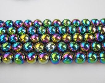 Beautiful Rainbow Hematite Smooth Round Beads 6/8/10/12mm 15.5'' Long Per Strand.R-S-HEM-0120