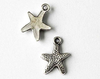 12x17mm Silver Pewter Starfish Charm with a flat back - 10 per bag