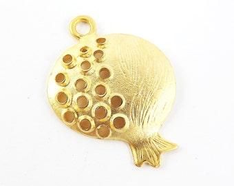Pomegranate Pendant - 22k Matte Gold Plated