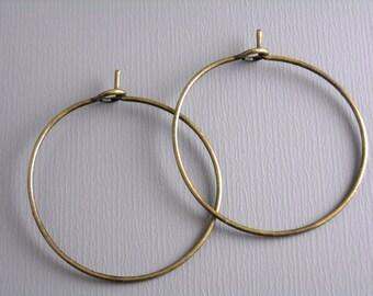 HOOP-AB-WINE-25MM - 20 pcs of 25mm Antique Bronze Hoop Earrings
