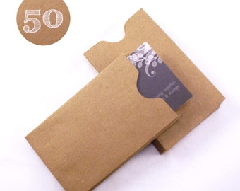 Set of 50 Recycled Kraft Brown Gift Card or Business Card Sleeves - mini envelopes - 2-1/4 x 3-5/8