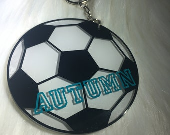 Soccer Ball Keychain -- PERSONALIZED SOCCER GIFTS -- team gifts -- soccer bag tag