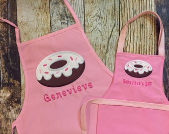 Donut Personalized Girl's Apron with Matching 18 inch Doll Apron - Pink Child's Apron - Monogrammed Name