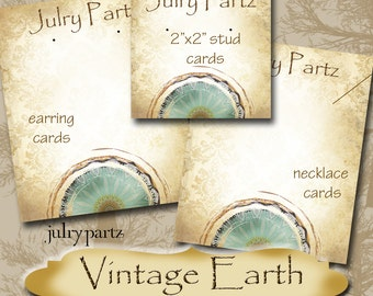 VINTAGE EARTH Series 1•Custom Tags•Labels•Earring Display•Clothing Tags•Custom •Boutique Card•Tags•Custom Tags•Custom Labels