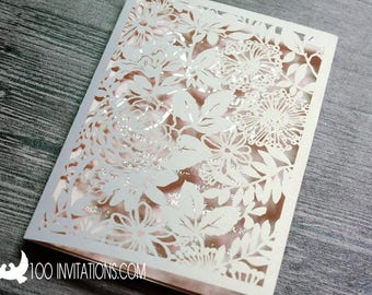 Blush Laser Cut Wedding Invitations,Blush Laser Cut Wedding Invitation,Silver Foil,Customized Available-Begin with deposit