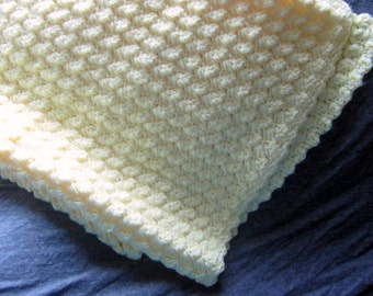 Yellow Crochet Baby Blanket, Crib cover, or Bassinet Blanket // Ready to ship // Baby Shower gift