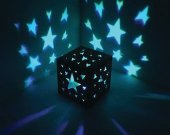 Star Night Light, Stars Wooden Box Light - LED Electric Candle, For Her, For Him, Nursery, NightLight, Gift, Princess