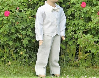 Toddler boy baptism outfit. Ivory ring bearer suit. Boys baptism suit.Toddler boy formal wear. Boys ivory wedding suit. Ring bearer clothes.