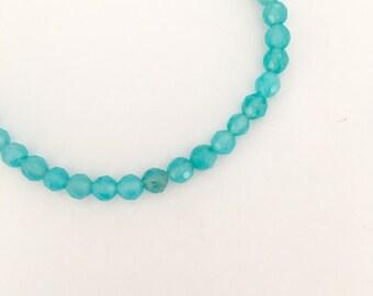 Turquoise agate gemstone dainty delicate friendship bracelet for everyday. Beaded bracelet. Summer bracelet. Bohemian bracelet.