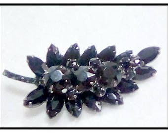 Juliana D & E Leaf Brooch Black Rhinestones / See In Data Bank wwwisitjulianajewelry? Reference # 4200