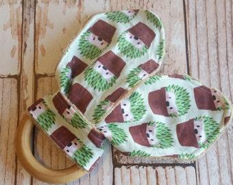 Teething Bunny - Hedgehog Baby Teething Toy - Wooden Teething Toy - Wood Teething Ring - Baby Shower Gift - Baby Easter Basket