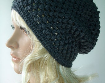 Crocheted gray slouchy hat - Ready to ship