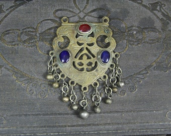 Tribal brass pendant w red and blue stones -- Afghan ethnic jewelry --  FREE SHIPPING SALE