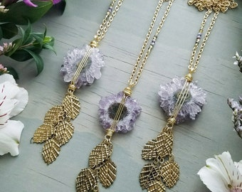 Amethyst Stalactite Necklace in Satin Gold >> Lavender Purple Amethyst Crystal with Brass Leaf Fringe, Earthy, Gemstone Jewelry