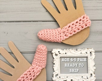 Ready to Ship - Set of 2 Thumb Guards - Ballet Pink - Crocheted Cozy to Help Stop Thumb Sucking - Age 4-5