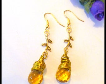 Amber Glass Briolette Gold Wire Wrapped Earrings