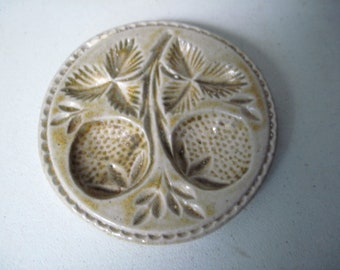 Vintage ceramic cookie butter mold strawberries