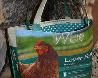 Upcycled/Recycled chicken feed sack bag/tote/purse/shopping bag w/matching polka dot fabric liner