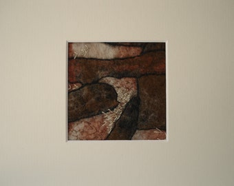 Handmade felted wallhanging with embroidery in natural  brown color. Fiber artist original work