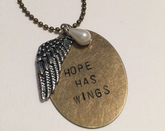 HOPE HAS WINGS Hand-Stamped Necklace