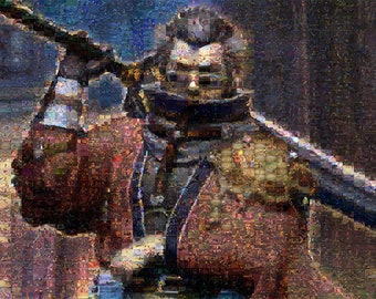 "Final Fantasy X Auron mosaic 4'x3' (1 piece & 72 4""x6"" slices)"