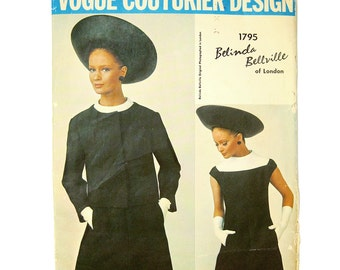 1960s Vogue Couturier Pattern - One-Piece A-Line Dress and Jacket - Belinda Bellville  / Size 12