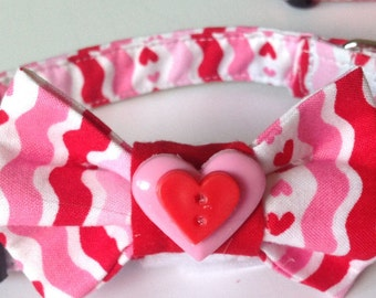 "Valentine's Day Bow Tie Collar for Male Dogs & Cats- ""Hearts and Stripes Valentine's Bow Tie Collar"""