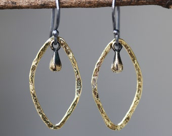 Marquis shape earrings brass in oxidized and brass drop decoration with sterling silver hooks style