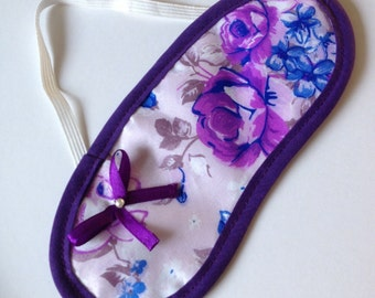 Purple & Blue Flowery Sleepmask With Bow