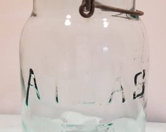 Antique Atlas E-Z Seal Blue Glass Canning Quart Jar