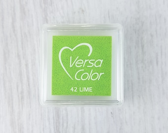 VersaColor Pigment Ink Pad Small in Lime Ink for stamp - Inkpad for Rubber Stamp - Versa Color - Colour Ink Pad - Green Ink - Green Inkpad